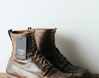 Vintage Moc Toe Work Boots - Mid Century Leather Hunting Shoes - Lumberjack Slim Profile Size 10.5
