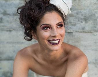 Retro pillbox hat, wedding headpiece, bridal fascinator, pillbox hat, retro fascinator  - Léa