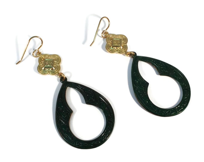 Hand Painted Emerald Green Dangle Hoop Earrings, Nickle Free Brass, OOAK, One of a kind