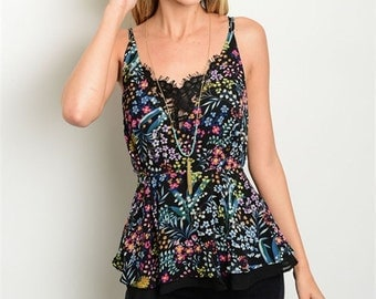 Black Blue Flower Floral Tank Sleeveless Multicolored Lace Top