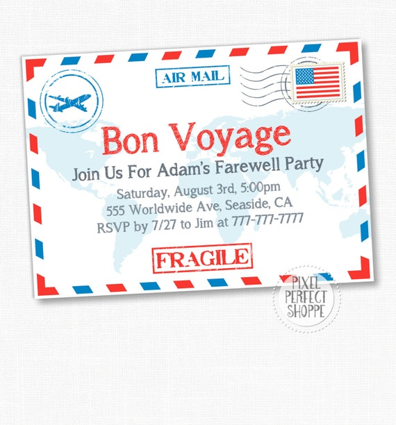 items similar to travel farewell party invitation bon voyage going away party invitation on. Black Bedroom Furniture Sets. Home Design Ideas