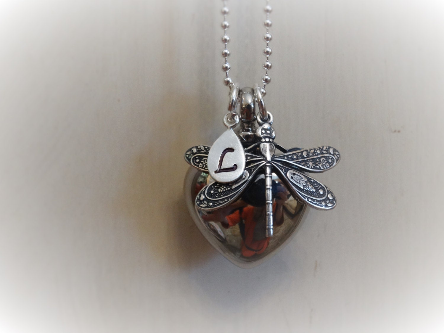 Custom CREMATION Dragonfly URN Cremation Jewelry Unique heart