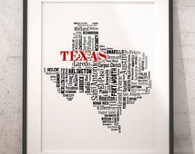 Texas Map Typography Art Poster Print,Texas Cities & Towns,Texas Wall Art,Bar Wall Decor,Texas Poster Print,Travel Art,Moving Gift