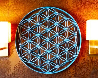 Flower of Life Sacred Geometry Metal Sculpture