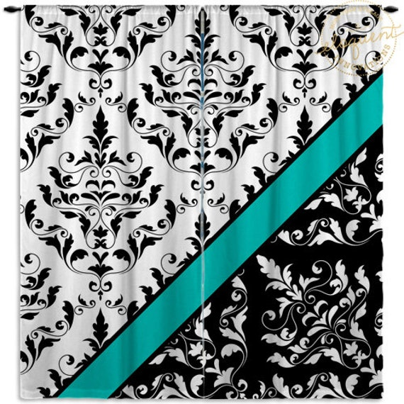 Items Similar To Black And White Damask Curtain Panels