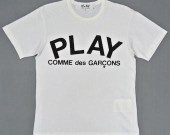Comme des Garcons Shirt Men Small 90s Vintage Comme des Garcons Play White T Shirt