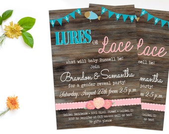 Lures or lace etsy for Fishing gender reveal ideas