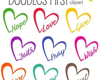 Word of Heart Digital Clip Art for Scrapbooking Card Making Cupcake Toppers Paper Crafts