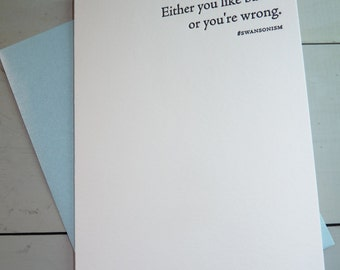 Ron Swanson Parks and Recreation Either You Like Bacon Or You're Wrong Quote Letterpress Greeting Card