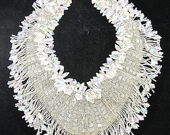 "Neckline Appliqiue with Crystal Styled Bunches and Fringe, Silver Beads, 12"" x 10""   -7798-1331"