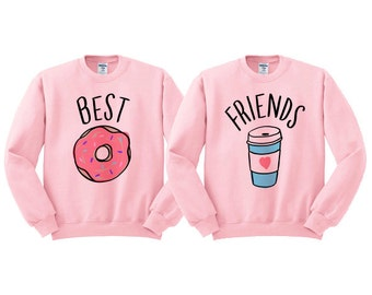 Best Friends Donut And Coffee Duo Sweatshirt - shirt for best friend, bestie shirt, bff shirt, junk food clothing, donut care