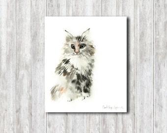 Kitten Watercolor Painting, Original Painting, Cat Watercolour Art