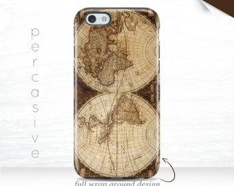 World Map iPhone 6s Case Vintage iPhone 6Plus Case Antique iPhone SE Case Wrap Around iPhone 6+ Cover Globe iPhone 7 Case Map 11x
