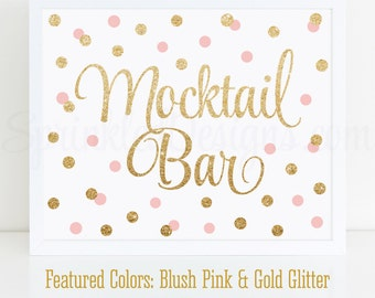 Mocktail Bar Sign - Blush Pink Gold Glitter Baby or Bridal Shower Ideas - Sip N See Party Sign - Birthday Party - Printable 10X8 Drink Sign