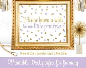 Leave A Wish for our Little Princess - Baby Shower or Birthday Girl Guest Book Sign - Lavender Purple Gold Glitter - Printable Party Sign