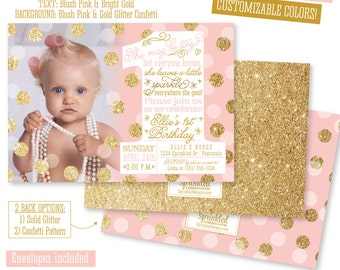 Pink Gold First Birthday Invitation With Photo BIG ONE St - First birthday invitations girl pink and gold