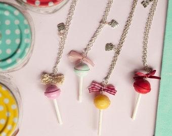 Dum Dum Lollipop Necklace / Chupa Chups Pendant / food jewelry / scented / fake food / miniature food / polymer clay food / mini fod /kawaii