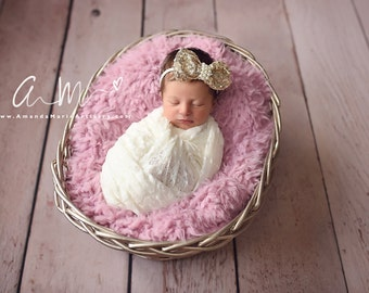 Gold Bow Baby Headband Super Soft Jeweled Nylon Baby Toddler Headband Different Colors Available