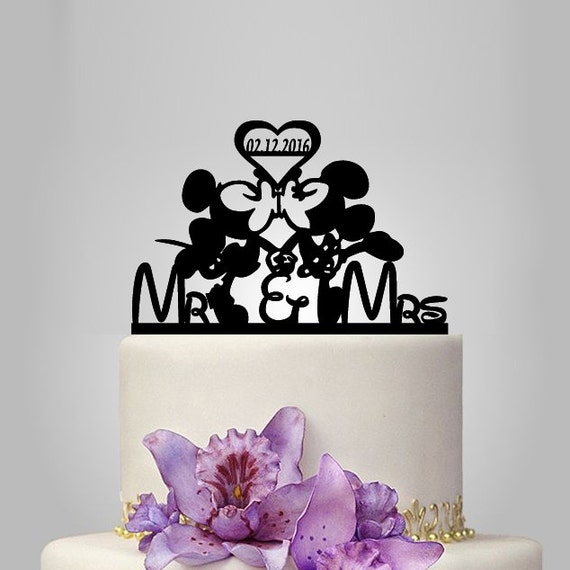 Mickey And Minnie Mouse Wedding Cake Topper With By Walldecal76