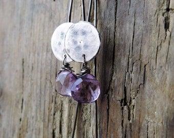 Amethyst earrings. Artisan earrings.  Handcrafted oxidized sterling silver earrings.