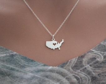 Sterling Silver United States Charm with Heart Necklace, Sterling Silver USA Necklace, I Love the USA Necklace, Proud USA Country Necklace