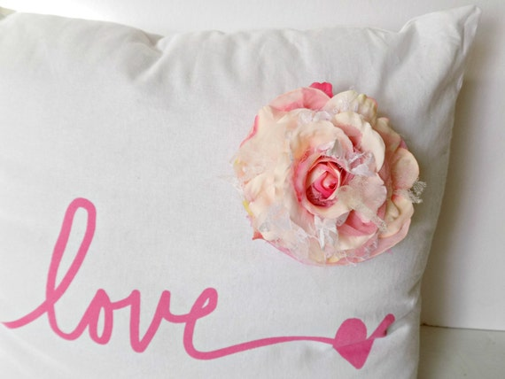 Love Pink Pillow Shabby Cottage Chic Throw Pillow Boho Chic
