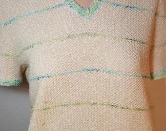 FREE  SHIPPING  Viintage 1970 Cotton Knit Dress