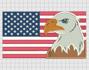 Bald Eagle USA United States of America Flag Embroidery Design in 4x4 5x7 and 6x10 Sizes