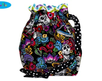 Drawstring Bag | Drawstring Pouch | Sock Bag | Project Bag | Knitting Bag | Sugar Skulls Bag | Day of the Dead Pouch