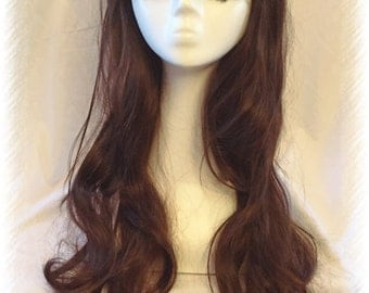Long Wavy Chestnut Brown Wig Natural Style Goddess Length Wig