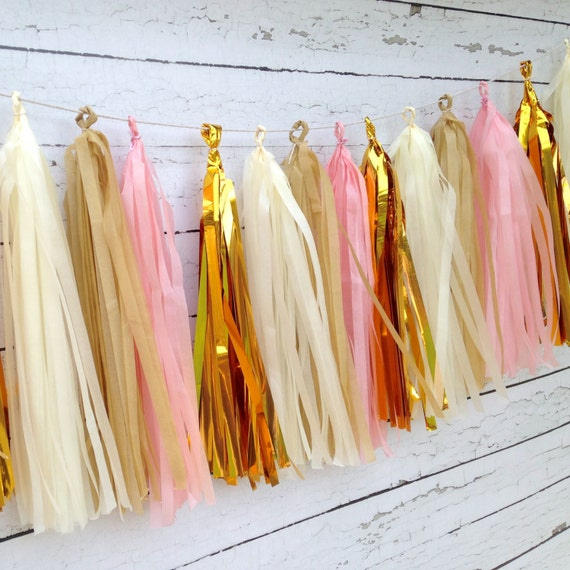 Pink gold tassel garland kit shabby chic party decor event for Shabby chic garland lights