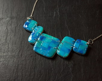 Blue Mozaic & Pool Necklace - Polymer Clay