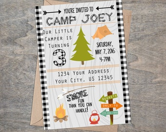 Camping Invitation | Lumber Jack Camp Woods Forest Smores S'mores Birthday Party Invite | digital