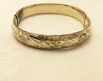 Vintage 12K Gold Filled Floral Etching Hinge Bangle Bracelet