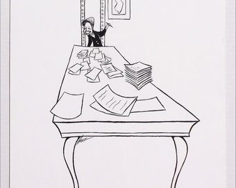 Author Mary Higgins Clark original ink drawing by Disney Artist Dave Woodman