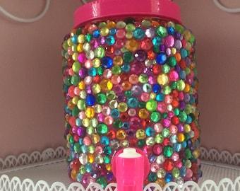 Drink Dispenser with Multi Color Rhinestones