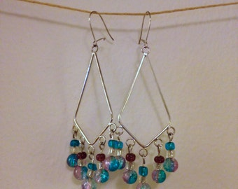 blue and purple chandelier earrings