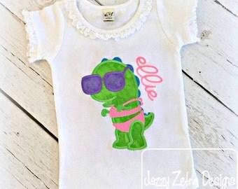 Dinosaur Girl in Swimsuit Applique Design