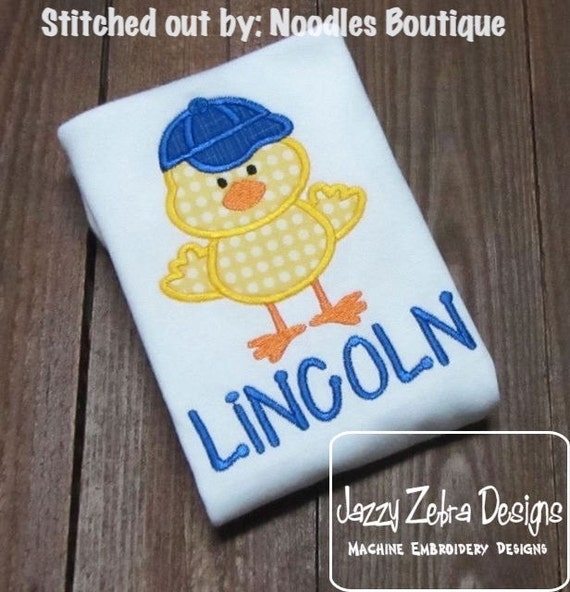 Boy Chick Appliqué Embroidery Design - Easter appliqué design - boy applique design