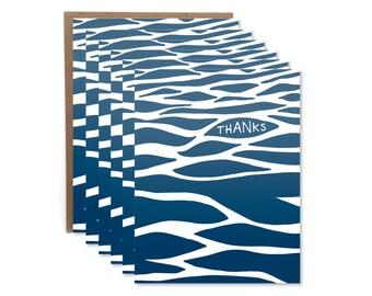 Wave Thanks Boxed Set // Letterpress Card // Ocean Waves  // Thank You Boxed Set