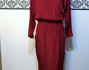 1980's Red & Black Secretary Dress by Liz Claiborne, Size 6, Vintage 1980's Red Hipster Day Dress, Medium, 80's Red Secretary Dress