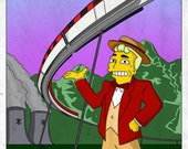 """The Simpsons """"Springfield Monorail """" 13 x 19 inch  Fan Art poster by DJ Clulow"""