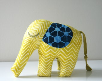 Elephant Toy, Mustard Yellow Batik Elephant Plush