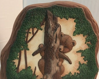 Small Ceramic Rock with Honey Bear Design