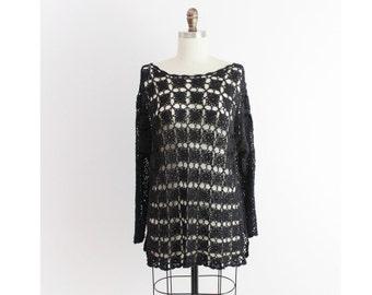 black open knit top / long black sweater / open knit black top / long black sweater large