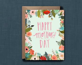 Whimsical Floral Mother's Day Greeting Card // 1 4.25x5.5 PRINTED Card + Envelope // Hand Lettered, Modern Greeting Card, Hand Lettered Card