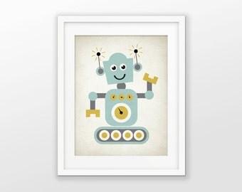 Cute Robot Nursery Print - Children's Robot Art - Baby Boy Shower Gift - Kids Playroom Decor - Boys Nursery Pictures - Robot Wall Art #177