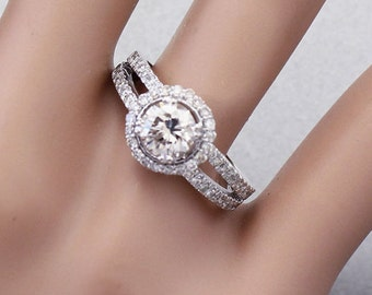 14k white gold round cut simulated diamond engagement ring split band 1.70ct