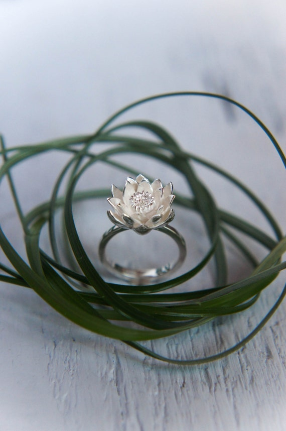 lotus flower engagement ring proposal ring by themanerovs. Black Bedroom Furniture Sets. Home Design Ideas