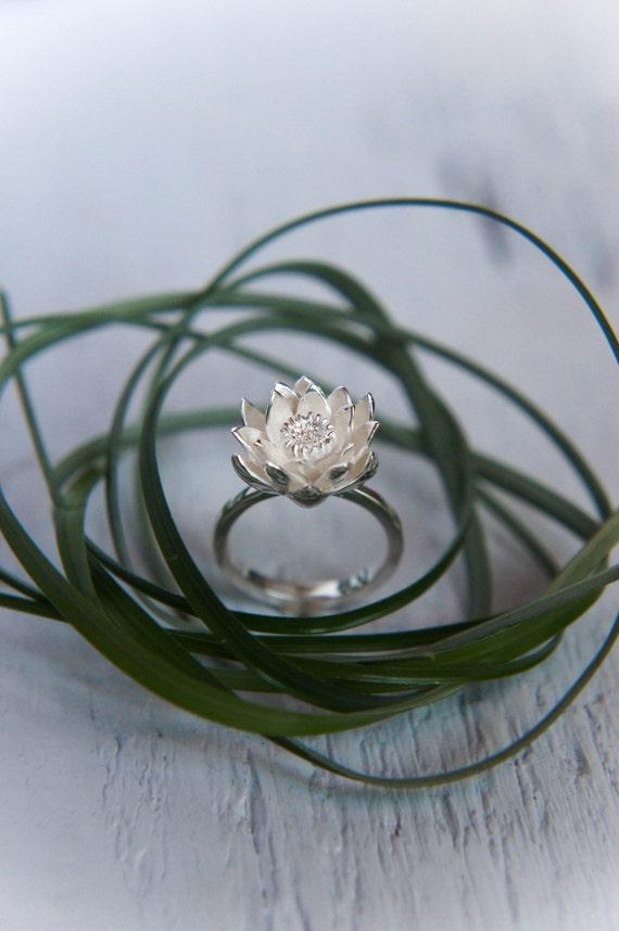Lotus Flower Engagement Ring Proposal Ring By Themanerovs